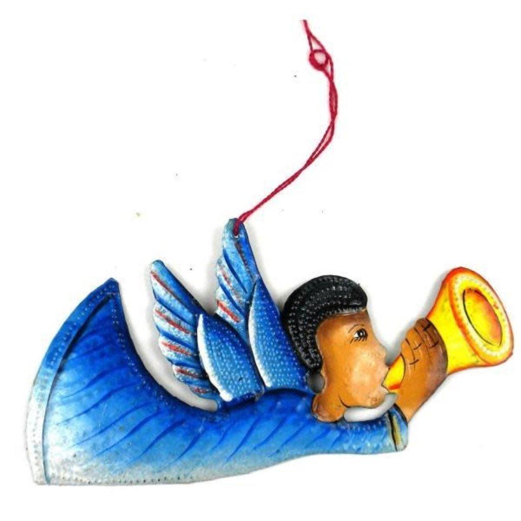 Global Crafts Painted Angel Metal Oil Drum Ornament