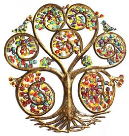 Global Crafts Painted Autumn Spiral Tree Drum Art