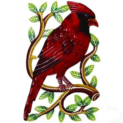Global Crafts Painted Cardinal Drum Art