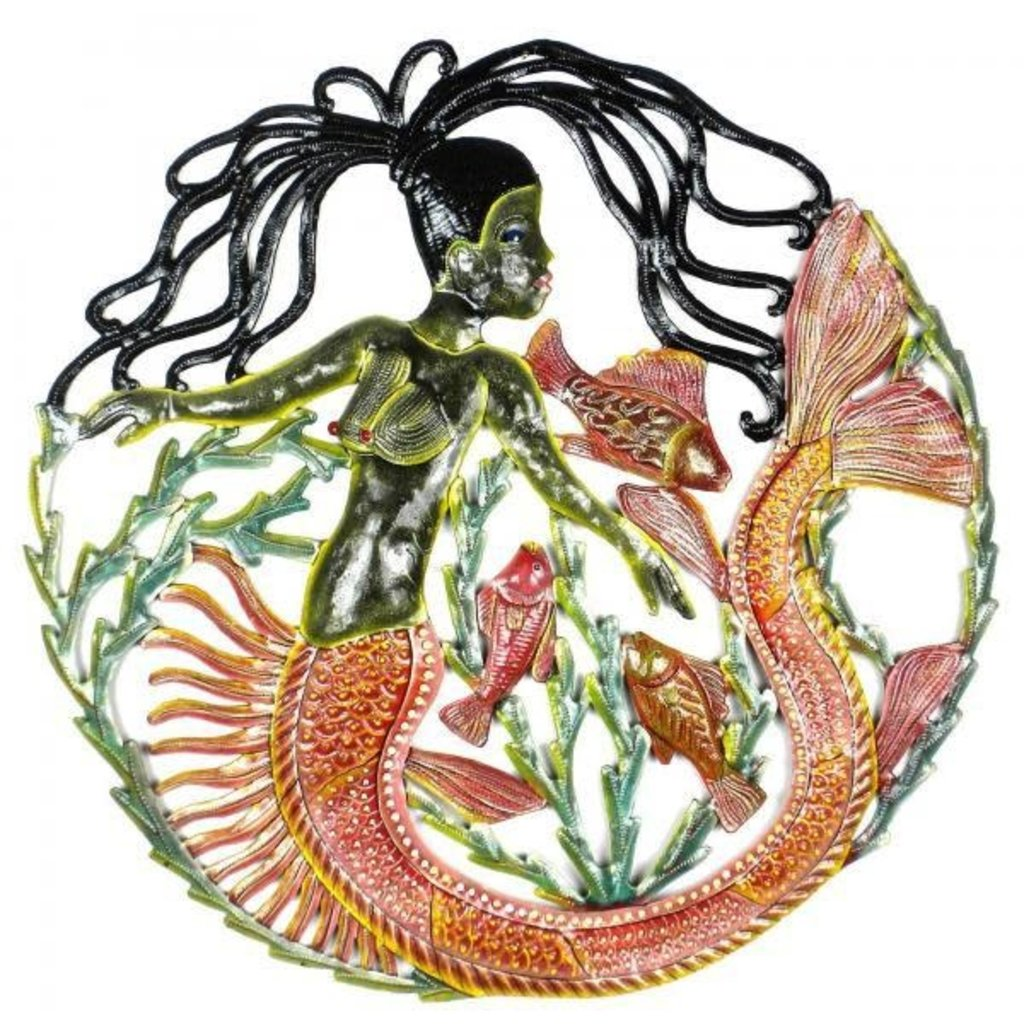 Global Crafts Painted Mermaid and Fish Drum Art