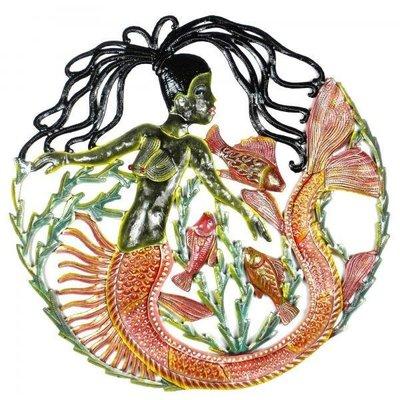 Global Crafts Painted Mermaid and Fish Drum Art