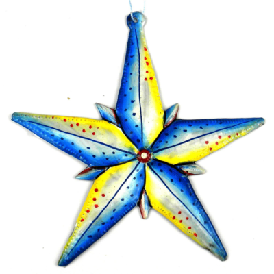 Global Crafts Painted Star Metal Oil Drum Ornament