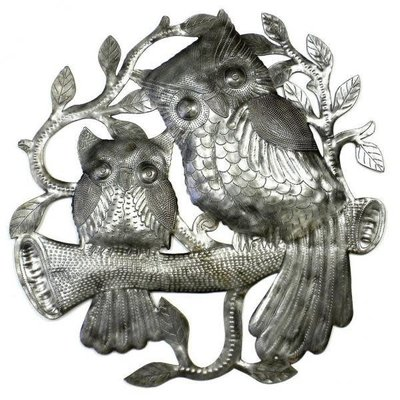 Global Crafts Pair of Owls on Perch Metal Drum
