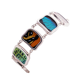 Silver Tree Designs Real Butterfly Wing Sterling Silver Bracelet