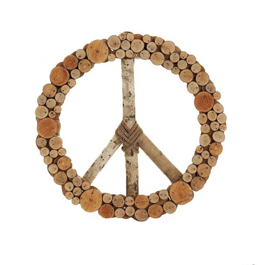 Serrv Peace Sign Layered Wood Wreath