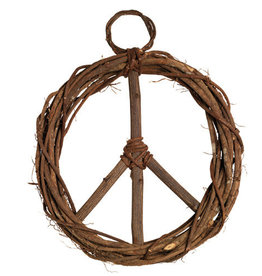 Serrv Peace Sign Wood Vine Wreath