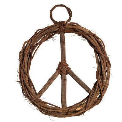 Serrv Peace Sign Wood Vine Wreath