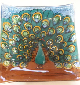 PamPeana Peacock Fused Glass Square Dish