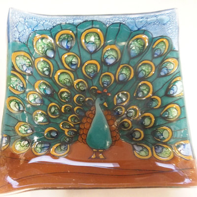 PamPeana Peacock Fused Glass Square Dish