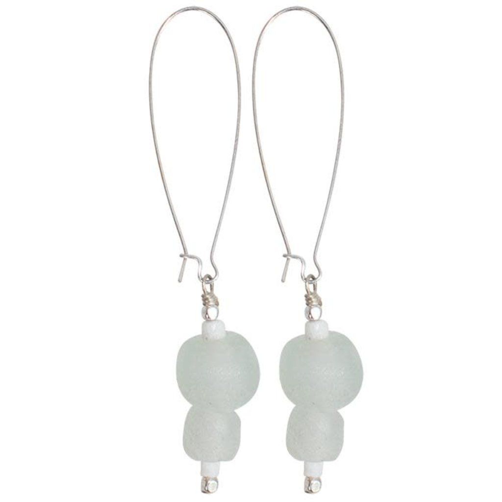 Global Mamas Pearl Dangle Recycled Glass Earrings - Clear/White