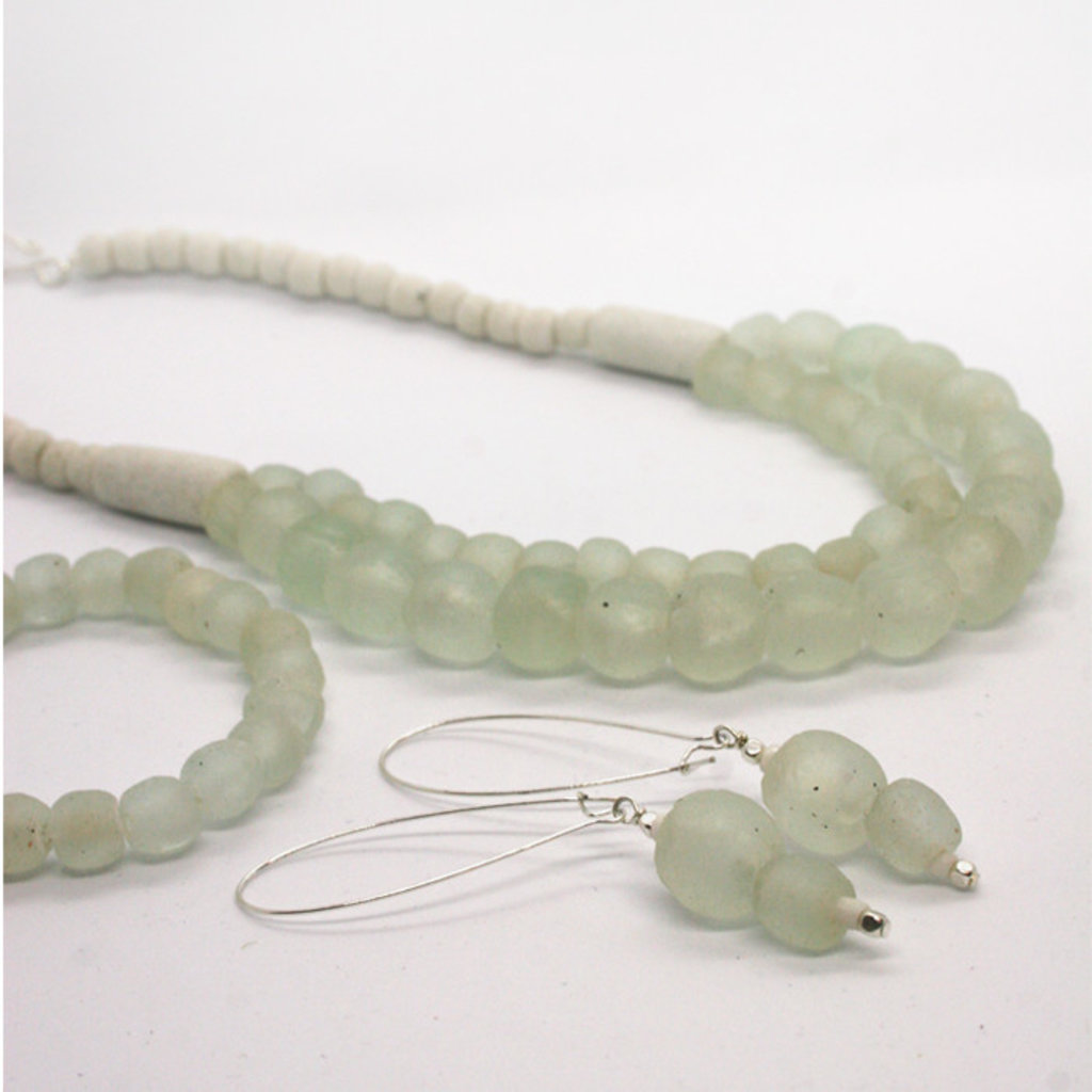 Global Mamas Pearl Dangle Recycled Glass Earrings - Clear/White