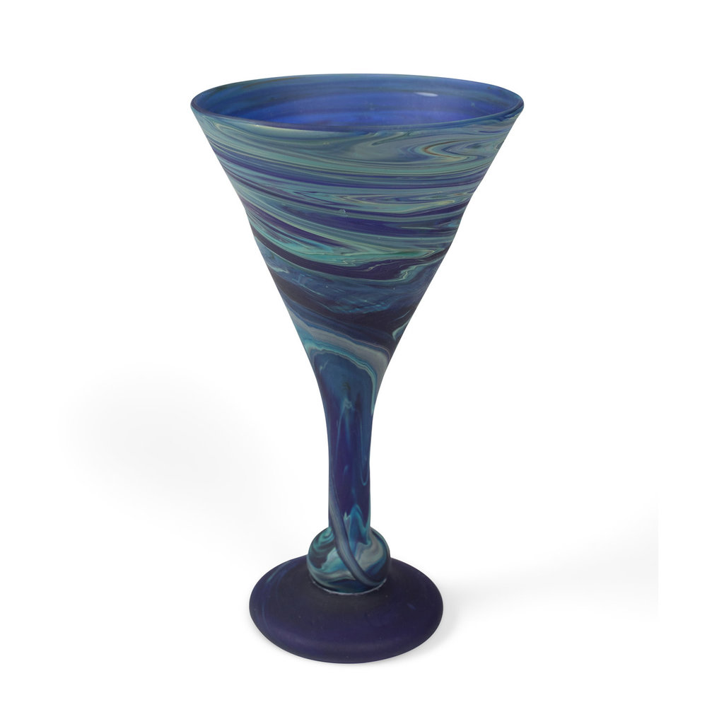 Ten Thousand Villages Phoenician Blue Cocktail Goblet