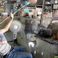 Ten Thousand Villages Phoenician Hand Blown Glass Votive Holder - 3.5