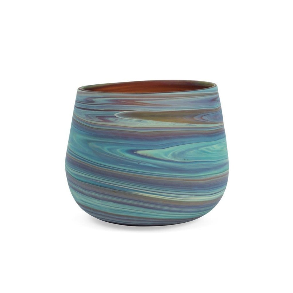 Ten Thousand Villages Phoenician Swirled Glass Tumbler or Candleholder