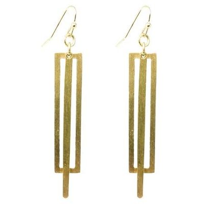 World Finds Pierced Rectangle Earrings