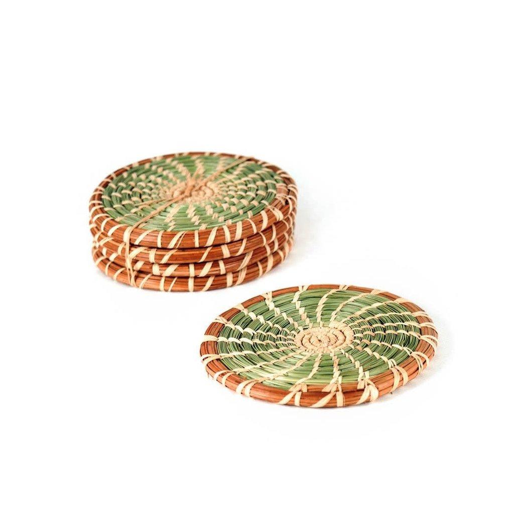Mayan Hands Pine Needle and Wild Grass Coaster Set