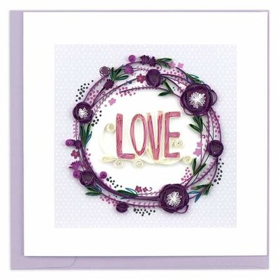 Quilling Card Purple Love Wreath Quilled Card