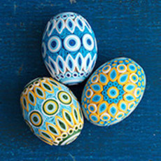 Serrv Quilled Egg in Blue and Gold