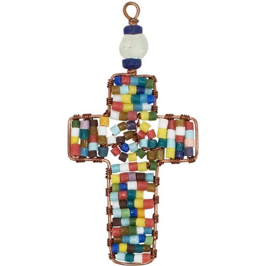 Global Mamas Rainbow Beaded Cross Ornament