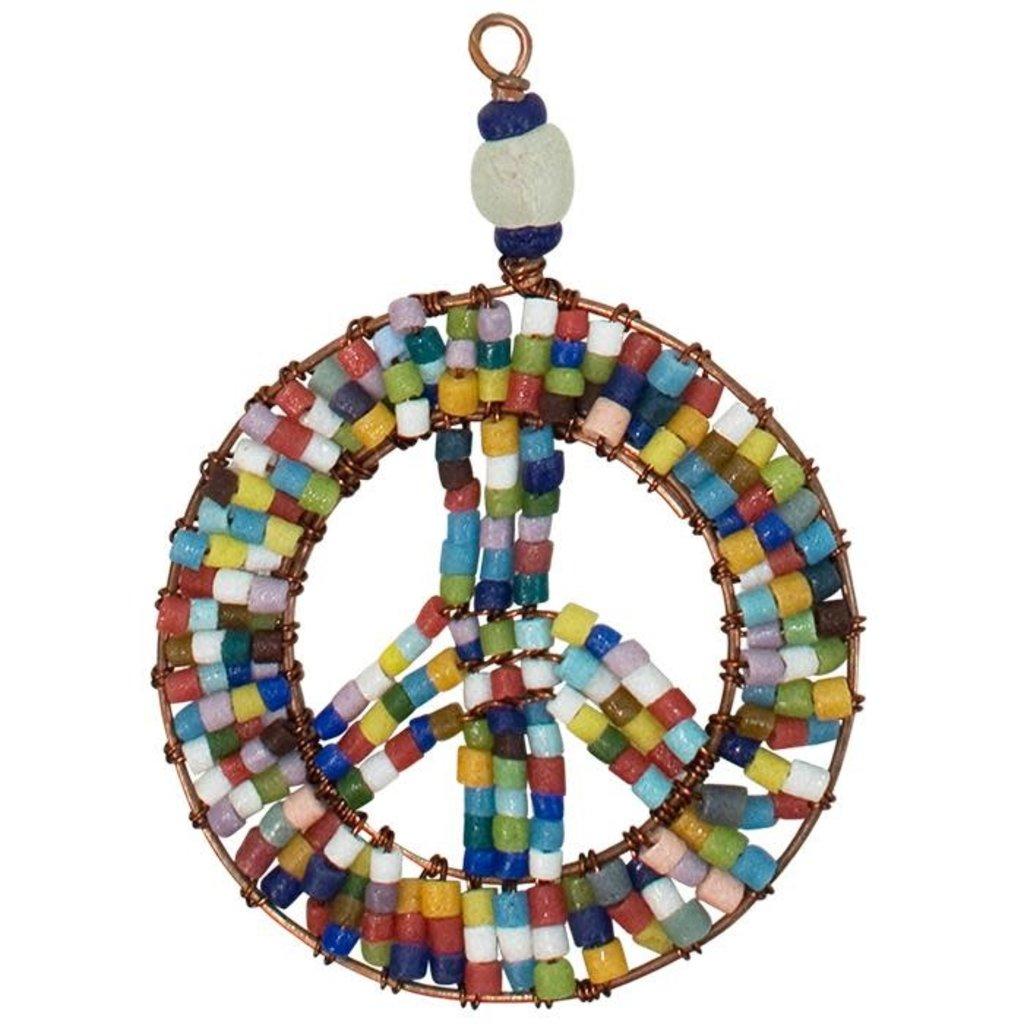 Global Mamas Rainbow Beaded Peace Sign Ornament