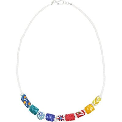 Global Mamas Rainbow Marble Recycled Glass Necklace