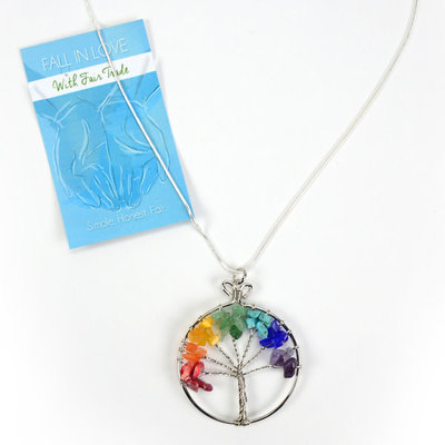 Minga Imports Rainbow Tree of Life Necklace