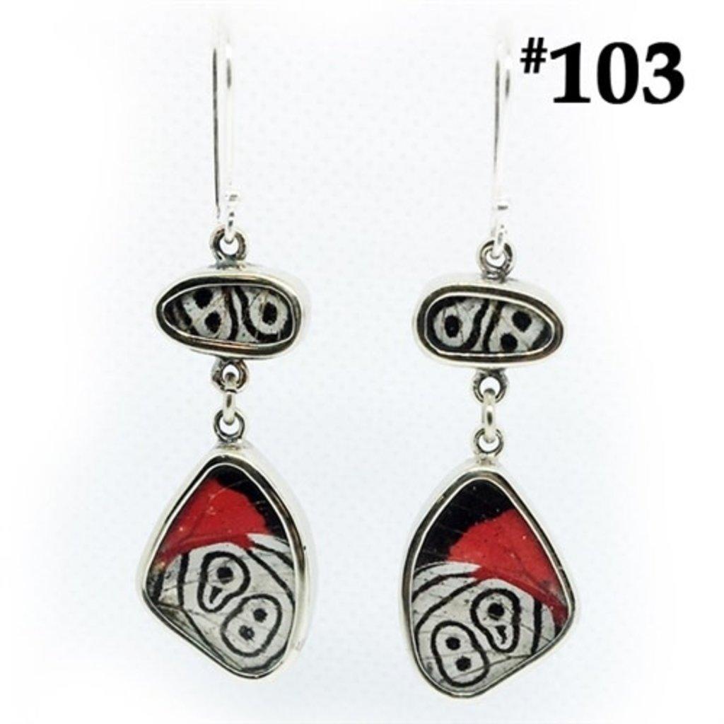 Silver Tree Designs Flutter Butterfly Earrings 103 Diaethria Clymena