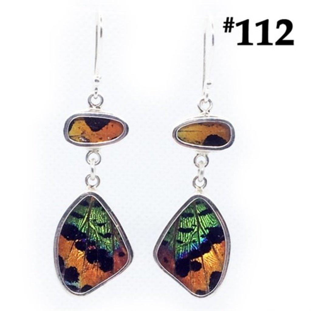 Silver Tree Designs Butterfly Wing Flutter Earrings - Chrysiridia Rhipheus & Sunset Moth