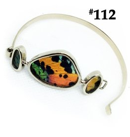 Silver Tree Designs Real Butterfly Wing Sterling Silver Cuff with Three Wings 112 Chrysiridia Rhipheus/Sunset Moth