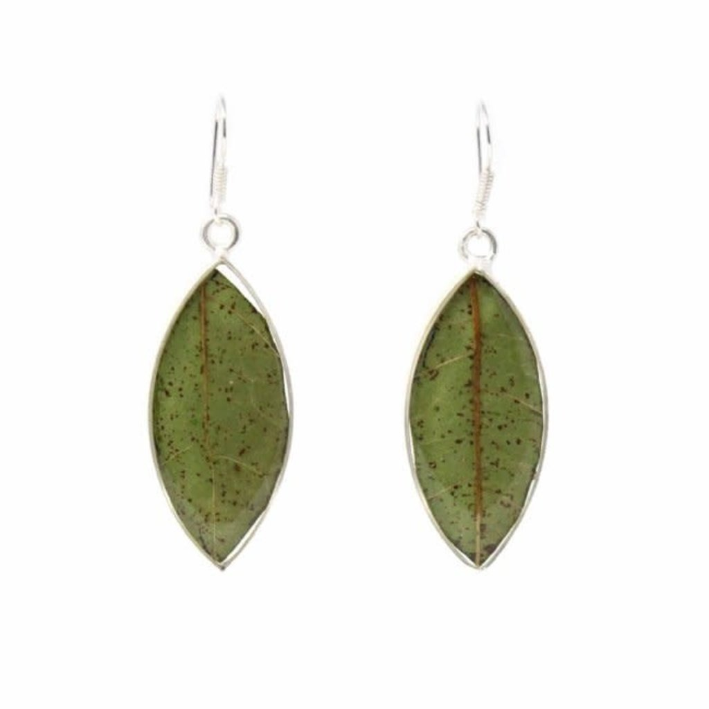 Global Crafts Real Natural Leaves in Resin Sterling Earrings