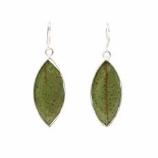 Global Crafts Real Natural Leaves in Resin Sterling Earrings
