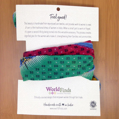 World Finds Sari Chic Recycled Cotton Bandana