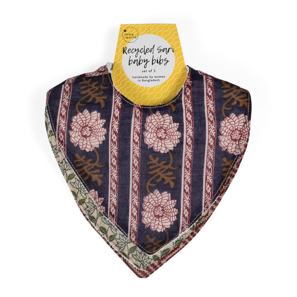 Ten Thousand Villages Recycled Sari Baby Bibs - Set of 3