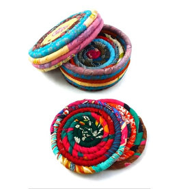 Ganesh Himal Recycled Sari Coasters Set of 4 in Lidded Box