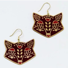 Mata Traders Red Fox Folk Art Earrings