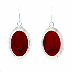 Global Crafts Red Jasper Silver Oval Earrings