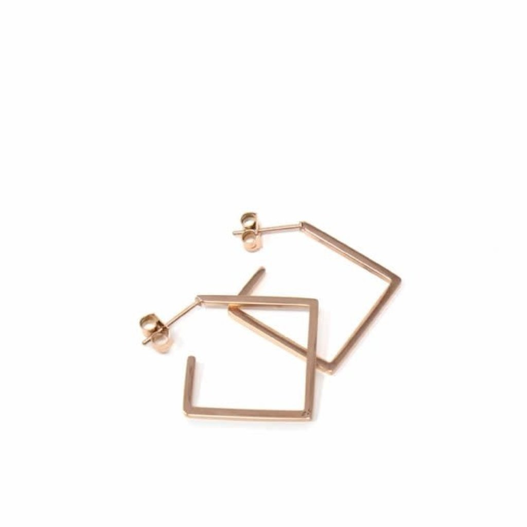 Global Crafts Rose Gold Plated Diamond Shaped Earrings