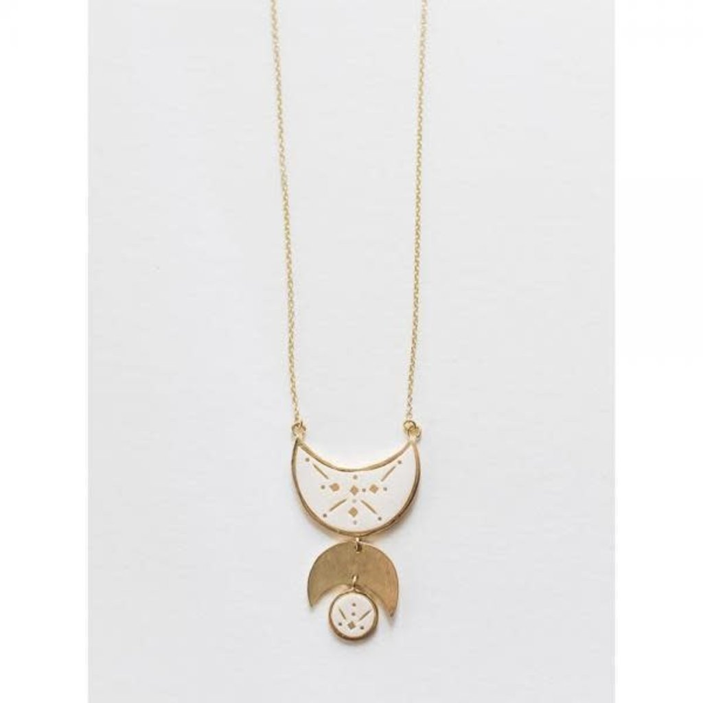 Mata Traders White Moon Child Gold Brass and Natural Bone Necklace