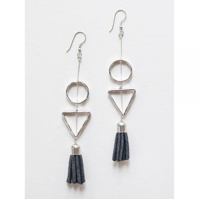 Mata Traders Silver and Grey Suede Tassel Earrings
