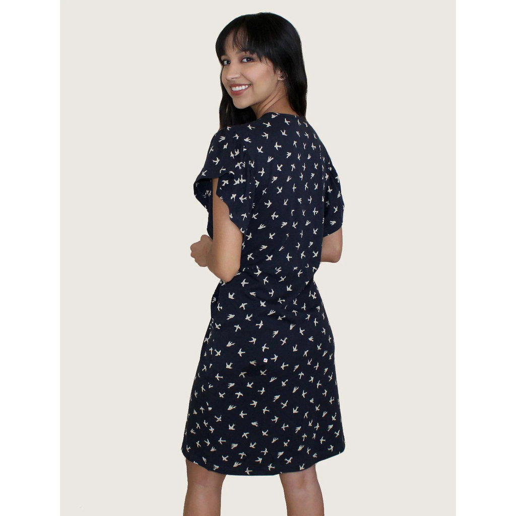Passion Lilie Pajaro Navy Cotton Jersey Dress