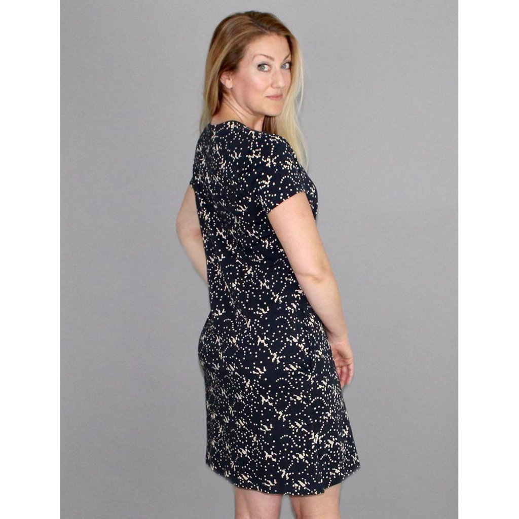 Passion Lilie Splatter Dot Organic Jersey Dress Black