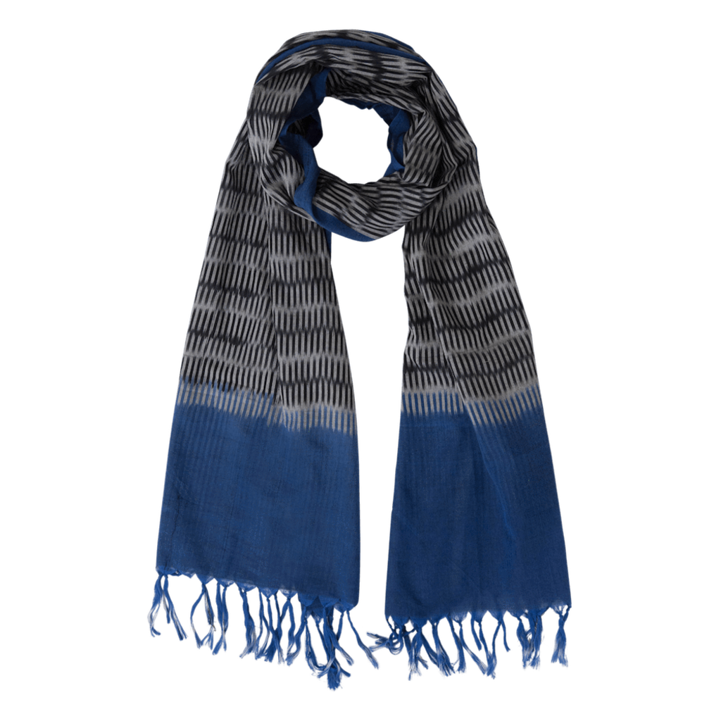 Passion Lilie Cobalt and Black Ikat Scarf