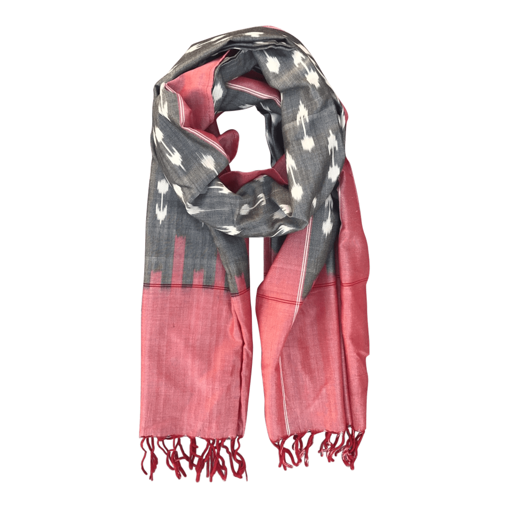Passion Lilie Apple and Grey Ikat Scarf