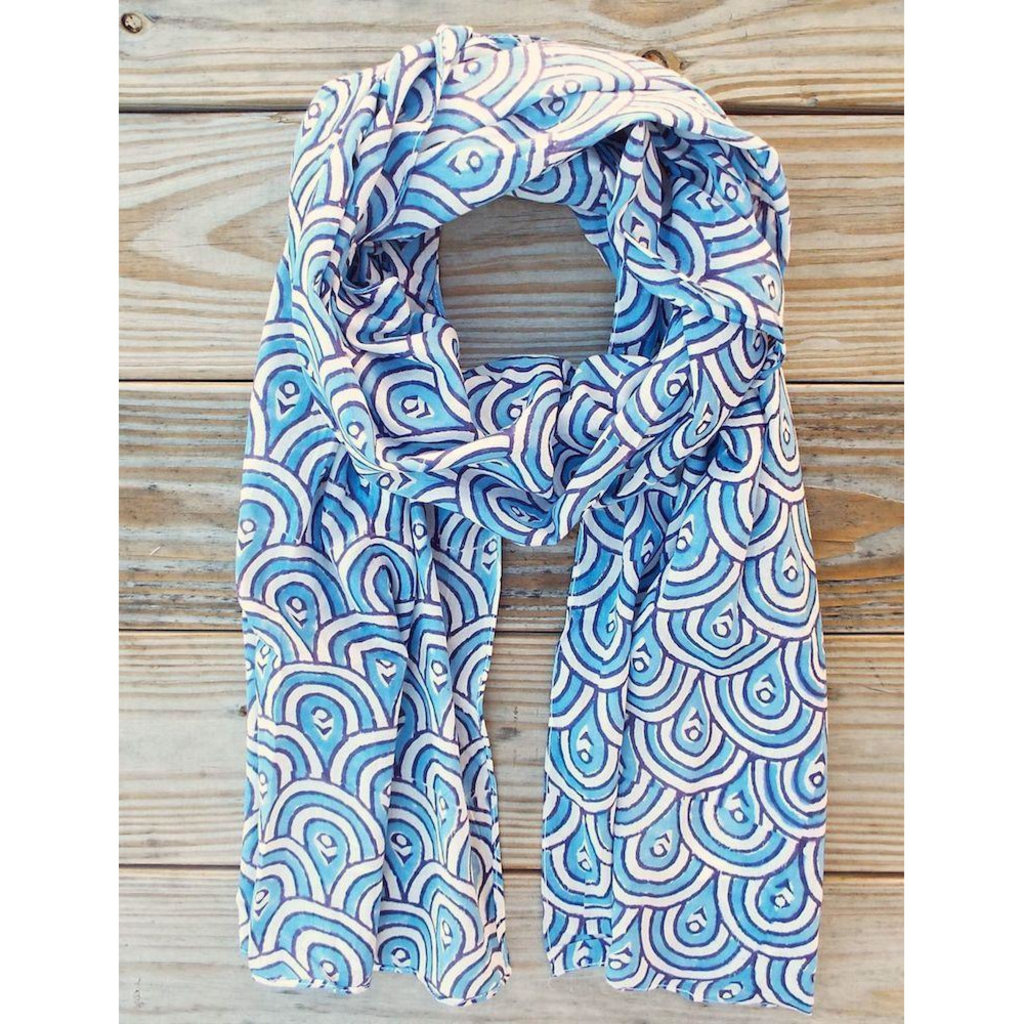 Passion Lilie Peacock Blue Scarf