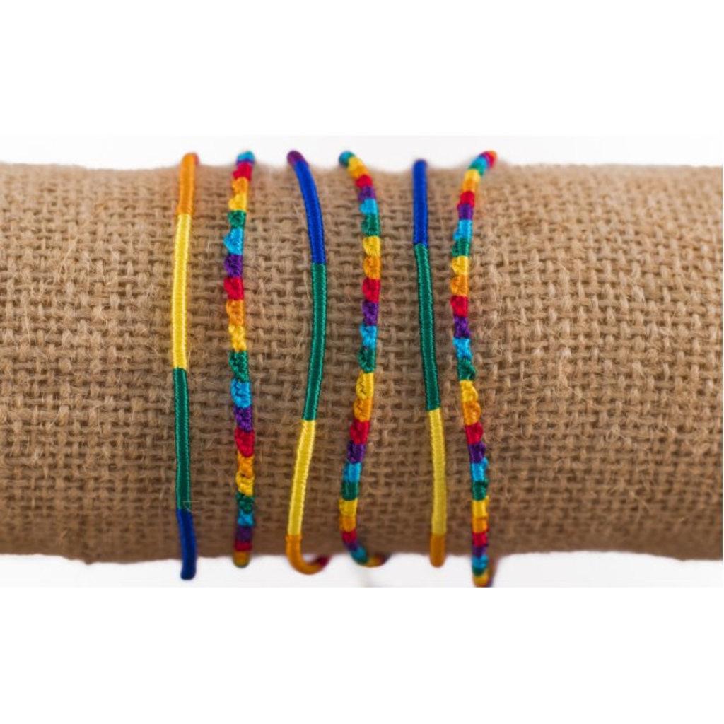 Lucia's Imports Round Silk Rainbow Friendship Bracelets