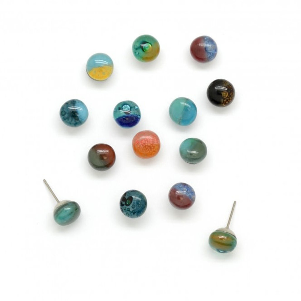 Dunitz & Co Round Stud Glass Earrings