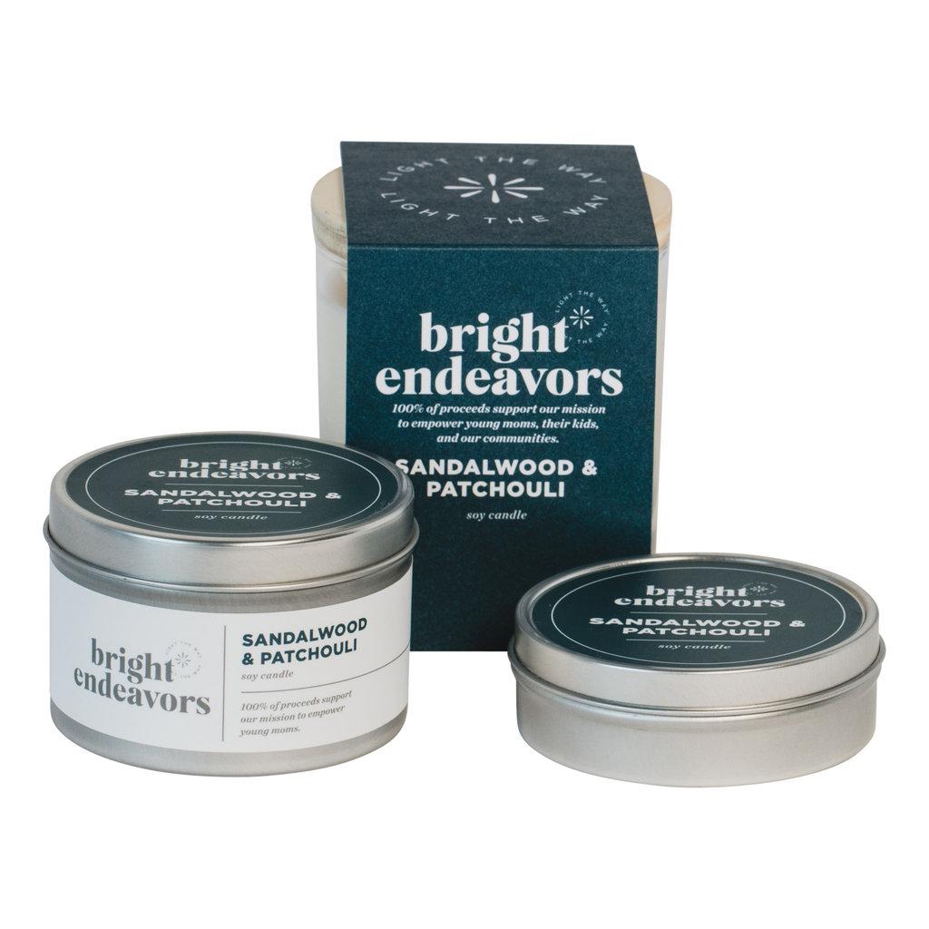 Bright Endeavors Sandalwood Patchouli Candle 4oz Tin