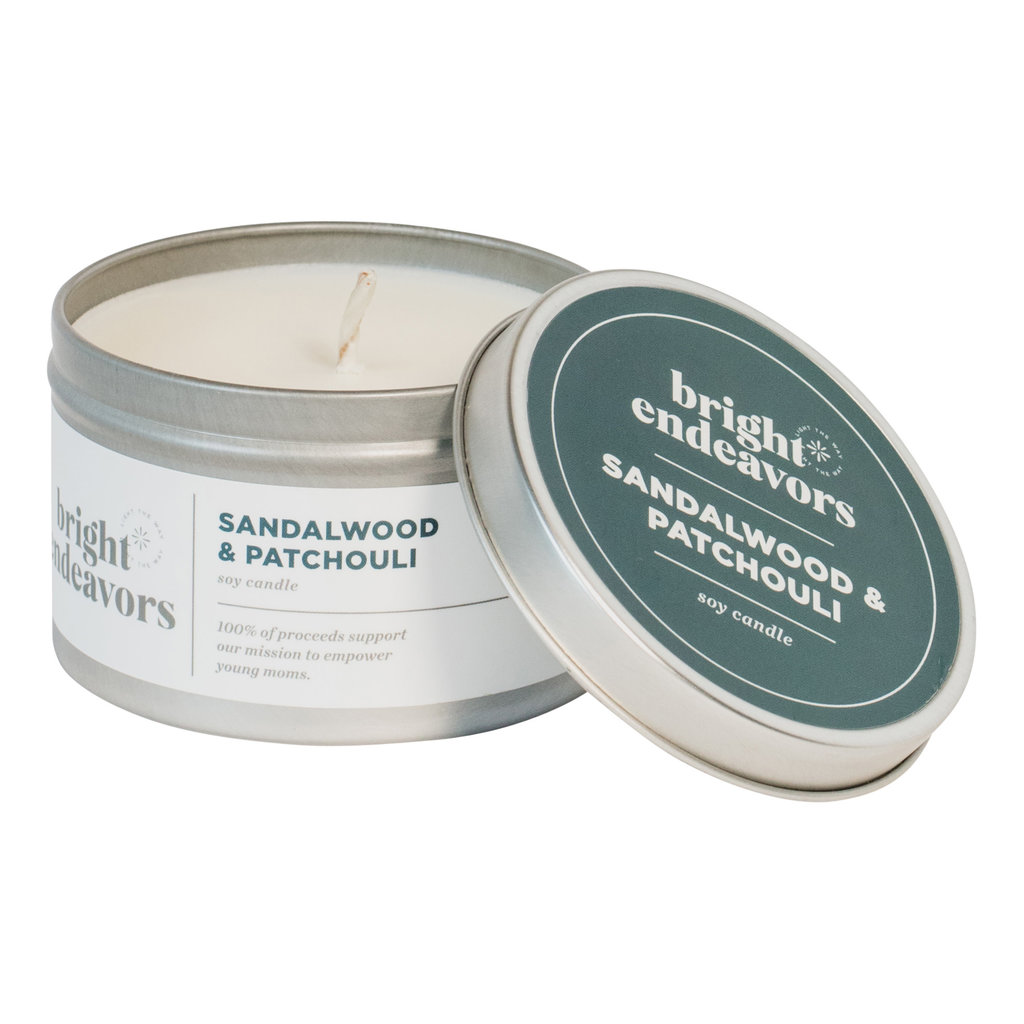 Bright Endeavors Sandalwood Patchouli Candle 8oz Tin