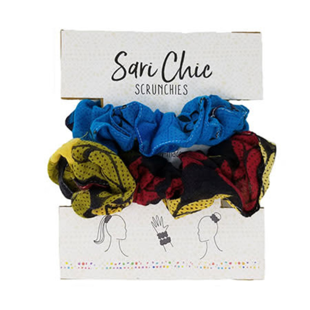 World Finds Sari Chic Scrunchies for Hair - Set of 2