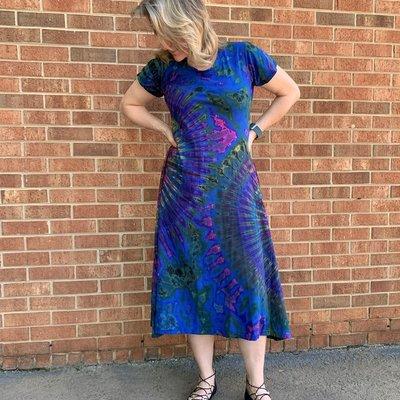 Unique Batik Short Sleeved Tie Dye Maxi Dress Blue